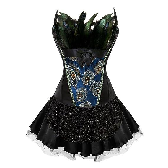 Lover-Beauty Vestido Mujer Steampunk Corset Sexy Bustier 18 Steel Ajustado Vestido Fiesta Encaje Bra Negro Falda Tutu con Corsé Vestido Dama de Honor ...