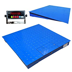 """PEC Heavy-Duty Industrial Floor Scale with Carbon Steel Ramp, Warehouse Pallet Weighing Equipment, Accurate Digital Indicator Included (48"""" x 48"""", Ramp4840)"""