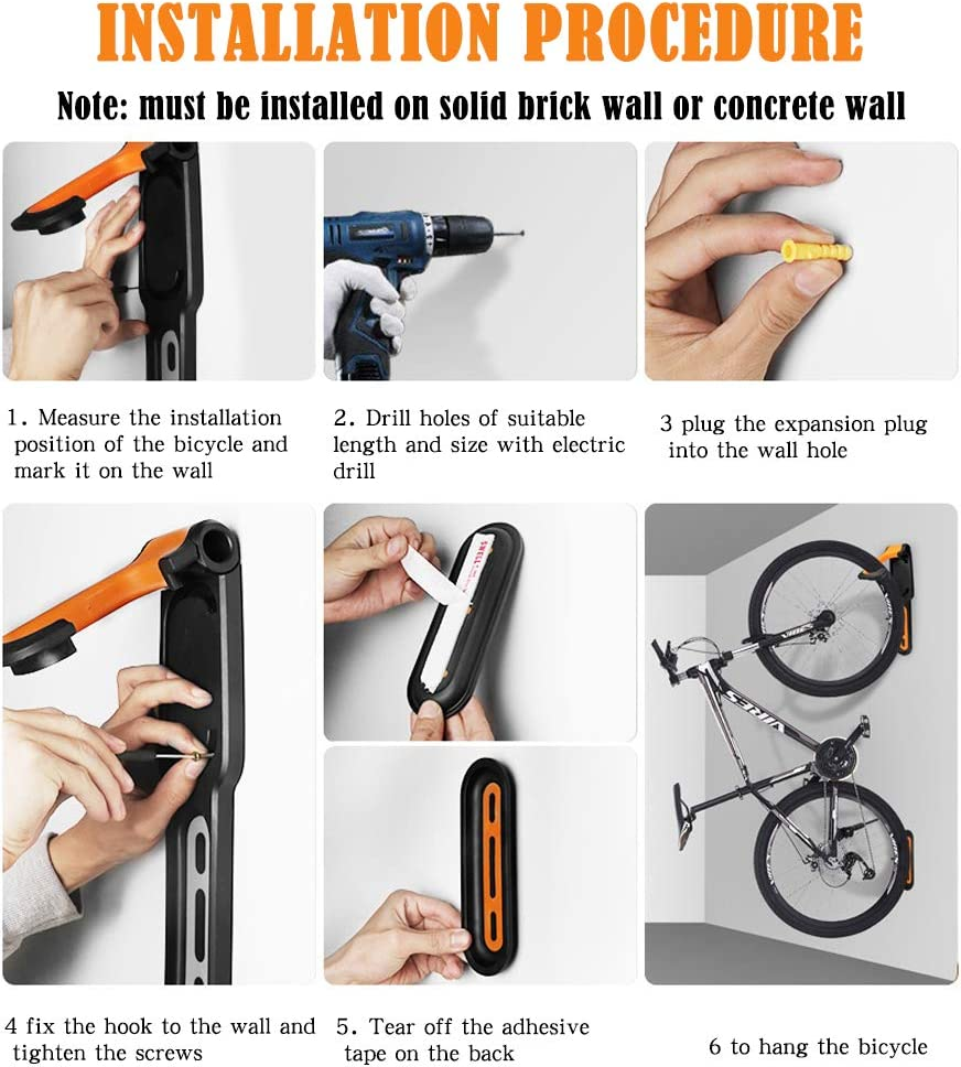 Peu encombrant Orange Support mural pour v/élo Montage vertical THETAG Support mural pour v/élo