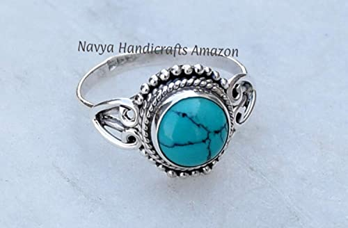 Turquoise Jewellery Sterling Silver Ring UK Size P. Gemstone Jewellery Jewellery Handmade US Size 8 Turquoise Ring