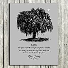 8x10 Unframed Print Personalized Gift For Dad Black Willow Tree on Gray Background Father of Bride Parents Fathers Day Gift From Bride And Groom Custom Wedding Art