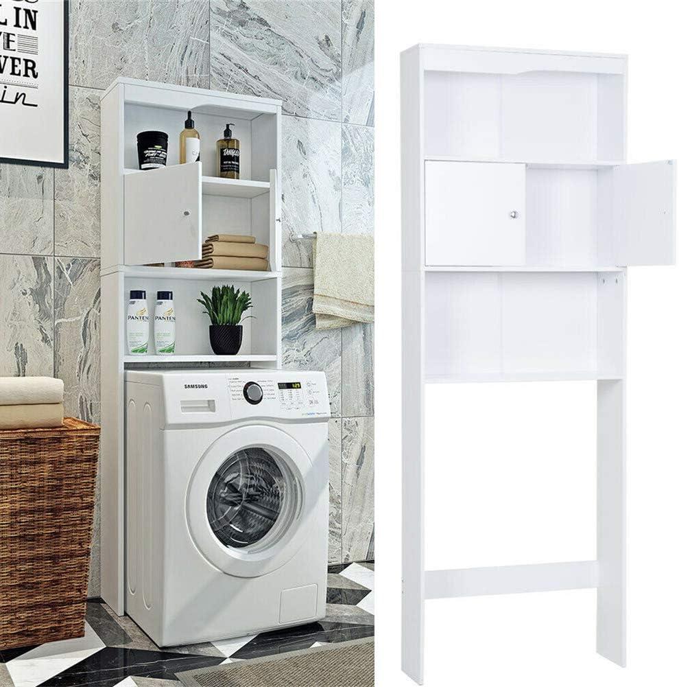 411/5000 Bastidor de lavadora blanca XPuing, estante de gabinete para lavadora, compartimento de 2 puertas, para armario de conversión de lavadoras 24,6 * 7,67 * 70,07 in (62,5 * 19,5 * 178 cm) Blanco