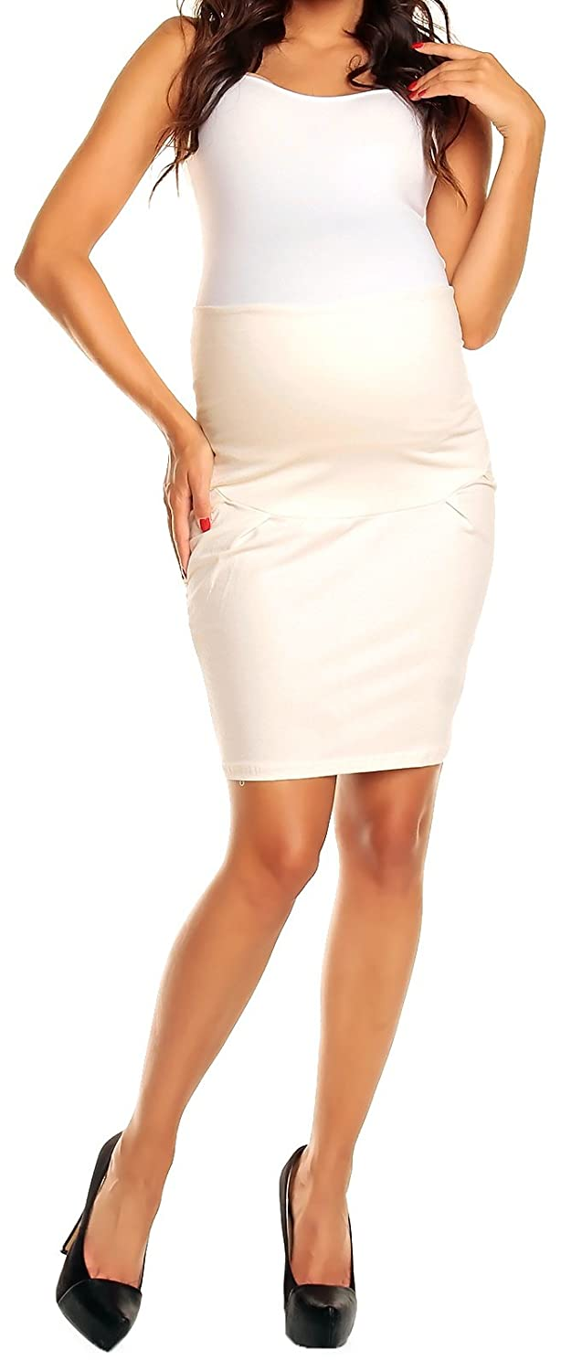 Happy Mama Women's Smart Pregnancy Maternity over Bump Panel Tulip Skirt 022p model 022_HMB
