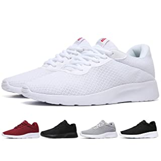 MAlITRIP Men All White Sneakers Low top Lightweight Lace up Casual Walking Gym Running Tennis Athletic Workout Training Sport Shoes Size 8.5