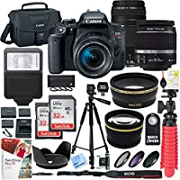 Canon EOS Rebel T7i DSLR Camera with EF-S 18-55mm IS STM & 75-300mm Lens + 2 x 32GB Ultra SDHC UHS Class 10 Memory Card + Accessory Bundle (2 Lens Kit EF-S 18-55mm & EF 75-300mm)