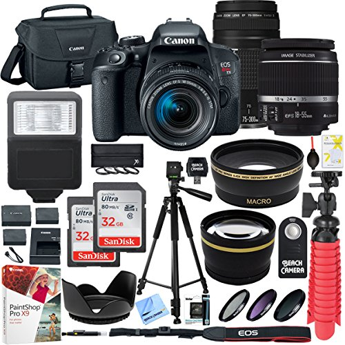 Canon EOS Rebel T7i DSLR Camera with EF-S 18-55mm IS STM & 75-300mm Lens + 2x 32GB Ultra SDHC UHS Class 10 Memory Card + Accessory Bundle (Lag Shutter Digital Camera)