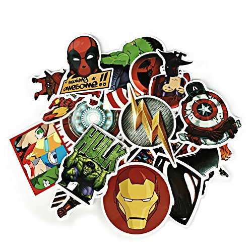Ambithou Super Heroes Stickers for Kids amp Adults  50 PCS Different Super Hero Waterproof Stickers for Water Bottles Laptop MacBook Skateboard Luggage Car Bicycle NoDuplicate Sticker Pack