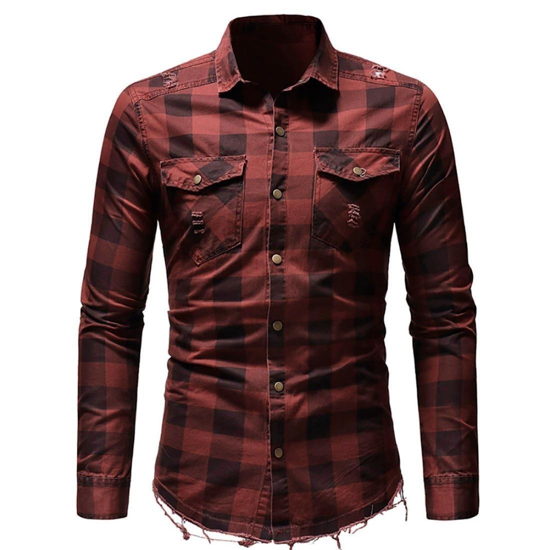 OWMEOT Men's Slim Fit Long Sleeves Casual Fashion Shirts (Red, 2XL)
