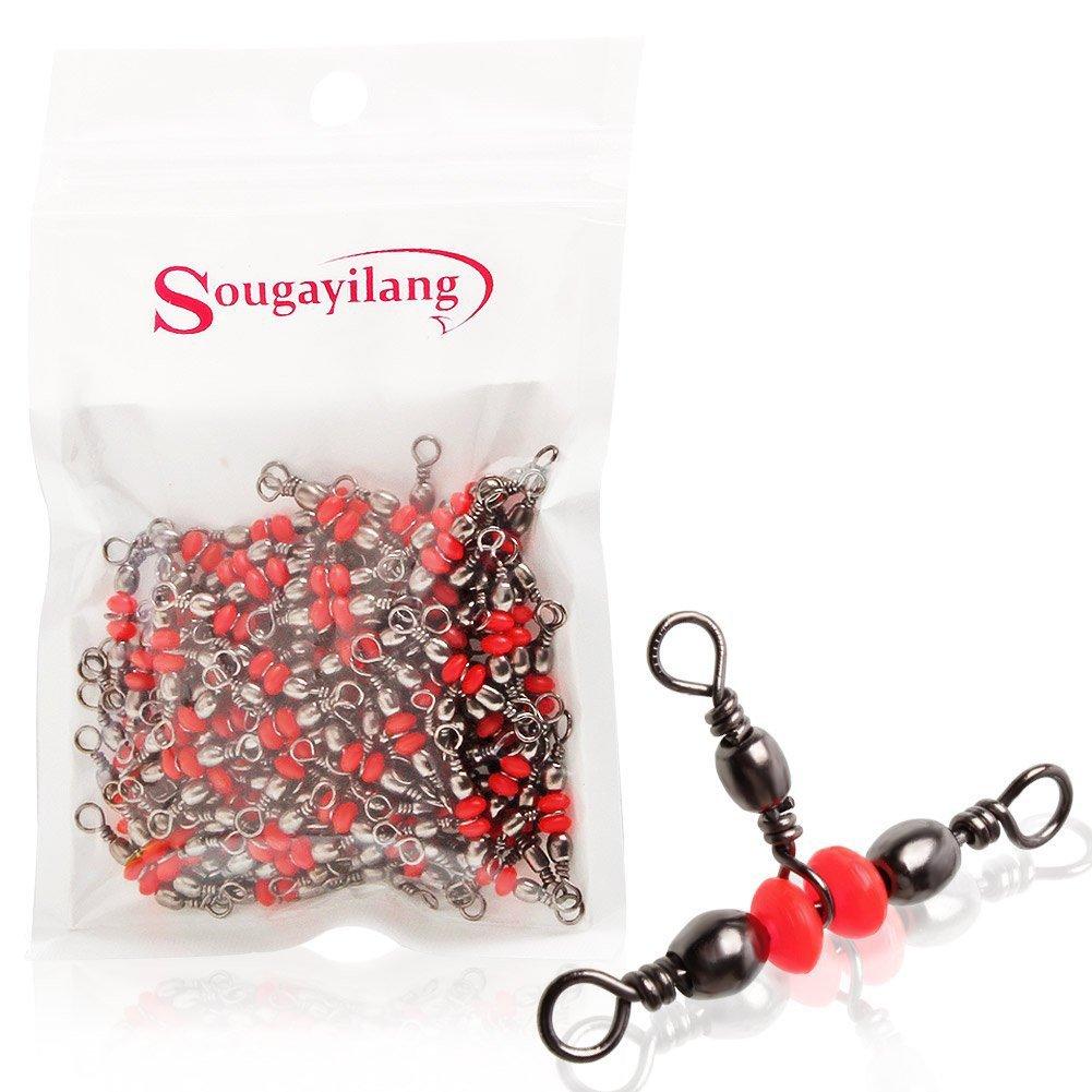 Sougayilang Fishing Line Sinker Slides Hook Shank Clip Connector Swivels Pack of 100pcs