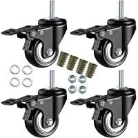 DICASAL 2″ Stem Casters, Heavy Duty Swivel Stem Casters PU Foam Quite Mute No Noise Castors Markless Wheels Double Bearings and Locks Loading 300 Lbs Pack of 4 with Brake Black