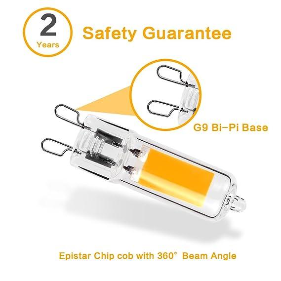 BALDER G9 3W Bombilla LED, Blanco cálido 3000k, AC 220V,Base Bi-Pin, Lámparas Halógenas Equivalentes a 30W, 320LM, 10-Unidades.: Amazon.es: Iluminación