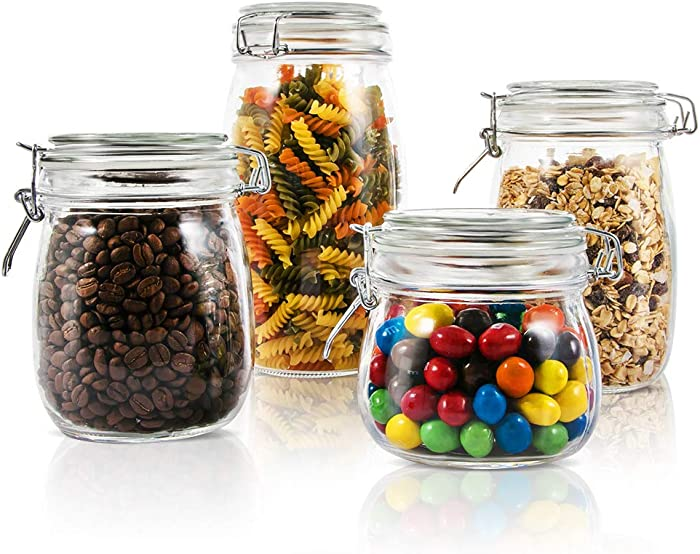 Mastertop Household 4 Pieces/Set Airtight Canister Set with Lid Waterproof and Impermeable Storage Glass Jar 1.5L 1L 0.76L 0.5L Multi-Purpose Food Container
