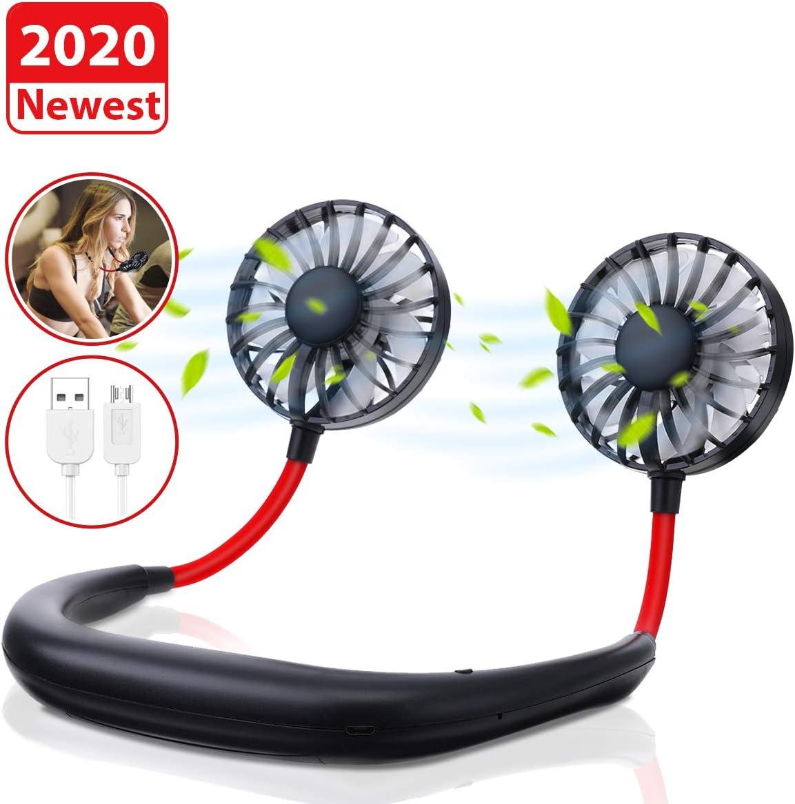 Tvird Ventilador Personal Portátil,Ventilador de Collar Mini Ventilador de Manos Libres Ventilador de Banda para el Cuello Ventilador USB Recargable Ventilador con Doble Cabeza Giratorio de 360°