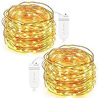 Luces de hadas de 30 LED de hoja de roble, con pilas, blanco cálido, juego de 2