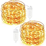 Oak Leaf 30-LED Fairy String Lights, Battery Operated, Warm White,Set of 2