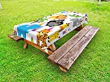 Ambesonne Kids Birthday Outdoor Tablecloth, Jungle Wild Safari Animals in Cartoon Pattern with Party Hats Flags Image, Decorative Washable Picnic Table Cloth, 58 X 104 inches, Multicolor
