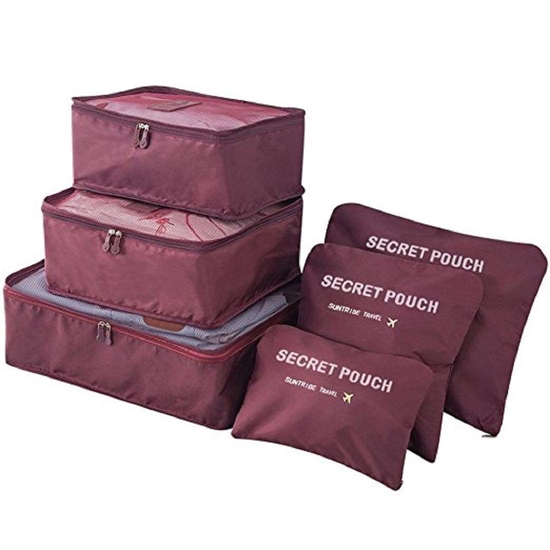 OxbOw Polyester & Nylon Packing Organizer (Maroon_Luggage Compression Pouches)
