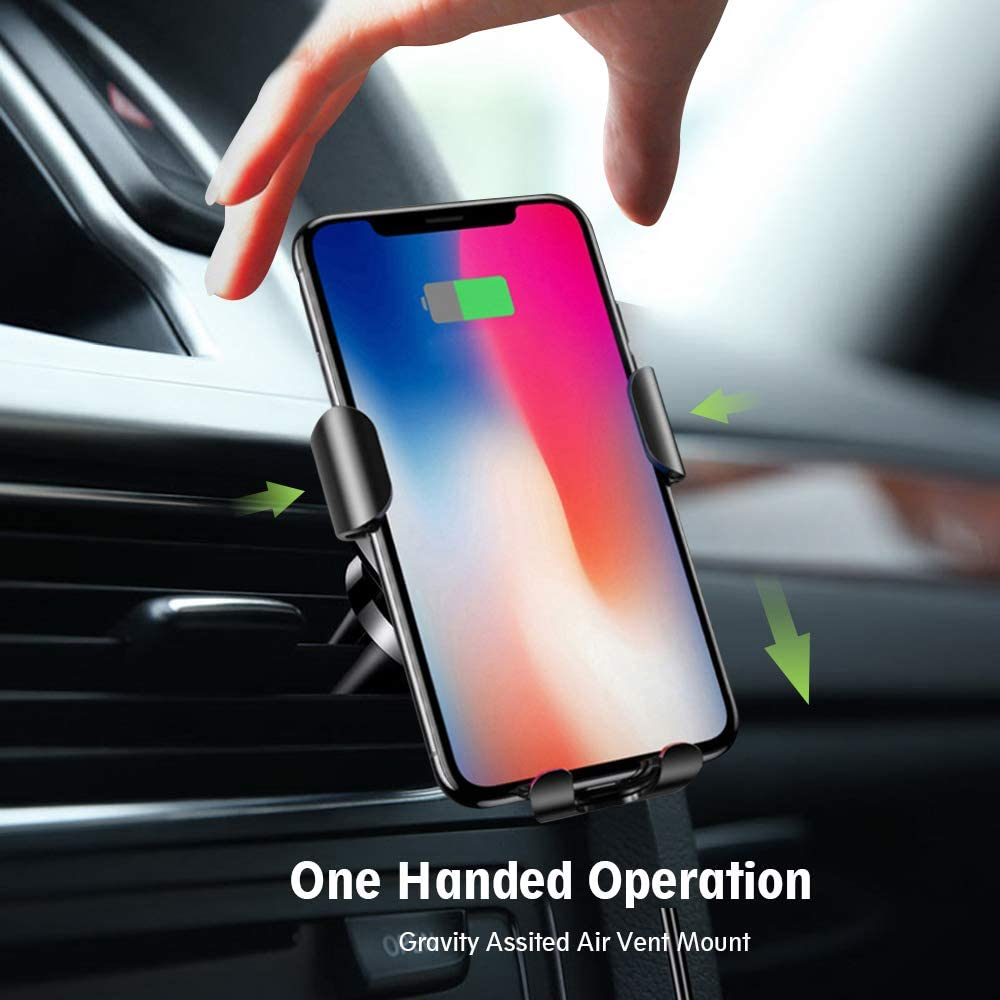 S7//7 S8//8 Doninb Compatible with Wireless Smart Sensor Car Charger Mount IR Intelligent Sensing Auto Clamping 10 W Fast Air Vent Holder for iPhone XS XR XS Max X 8 8 black Black for Galaxy S9//9