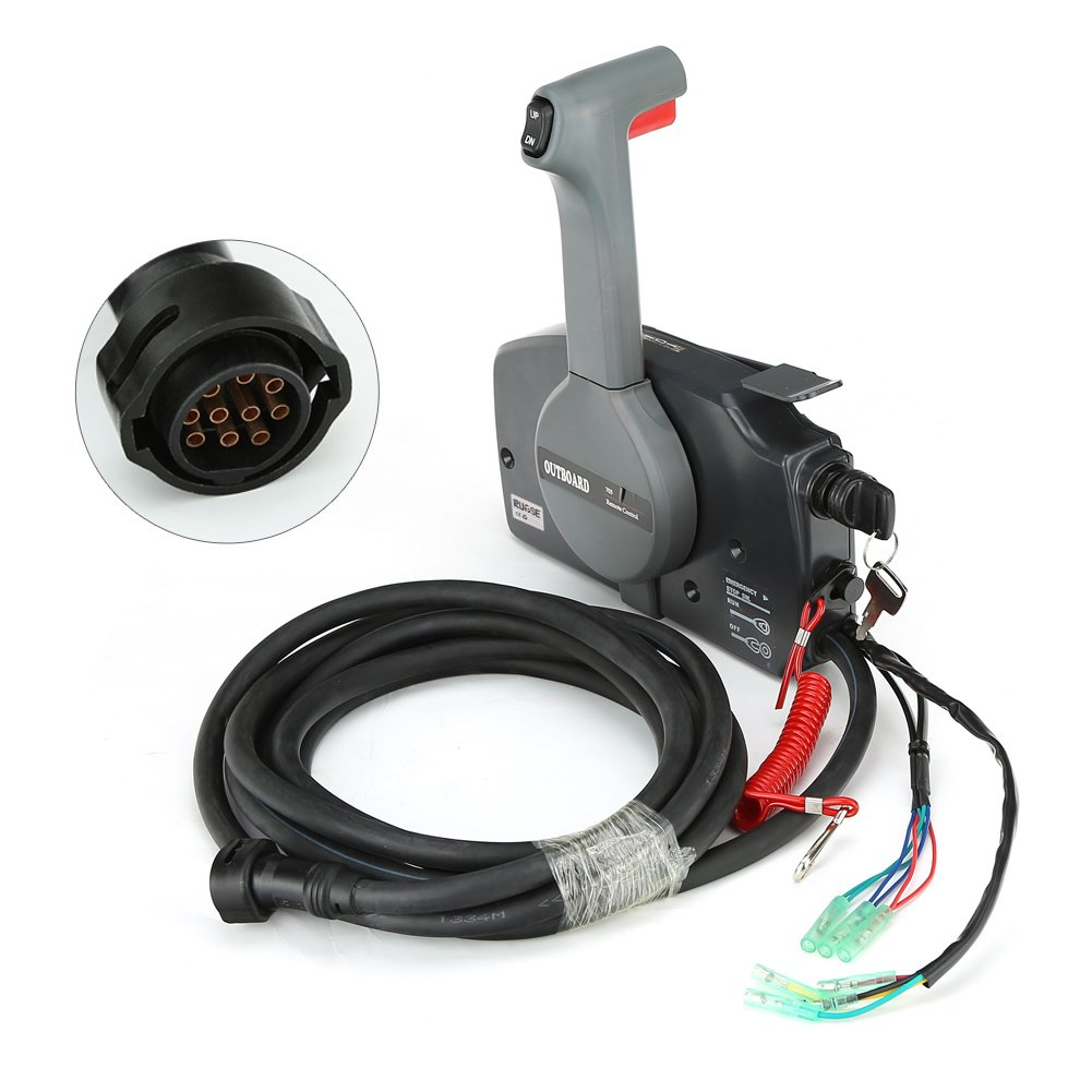RUPSE Universal Outboard Remote Control Box Push Open for Yamaha with 10 Pin Cable OEM 703-48207