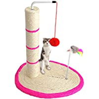 Gluckluz Cat Scratching Post Tree Scratcher Tower House with Toy for Large Small Cats and Kittens with Toy, Durable Sisal Material Keeps Kitten Claws Active & Protects Furniture (Pink)