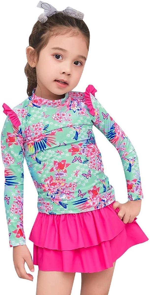 Toddler Baby Girls Long Sleeve Sun Protection Swimsuit Little Girls Rash Guard Round Neck Swimwear Two Piece UPF 50+