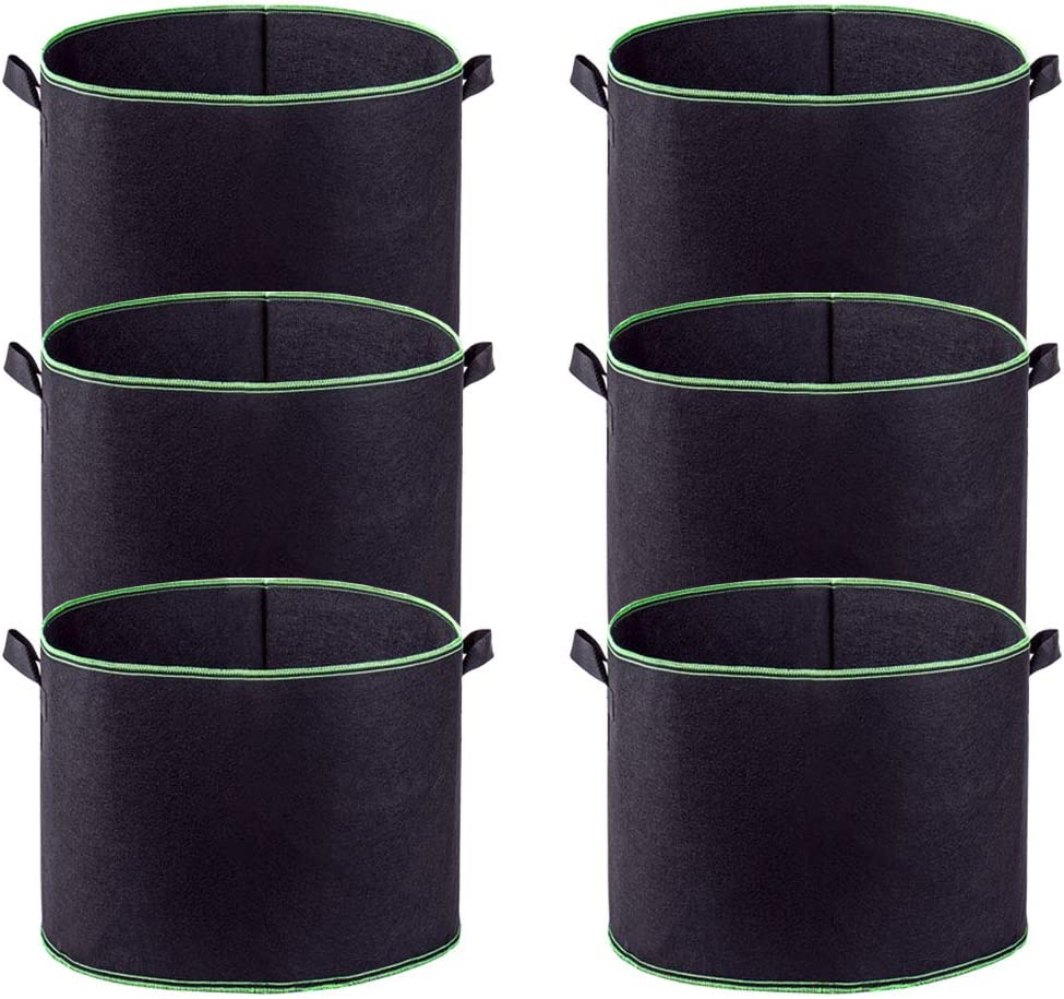 HAHOME Plant Grow Bags, 6-Pack Nonwoven Container Aeration Fabric Pots with Handles for Planting Trees Flowers Fruits Vegetables 10 Gallon