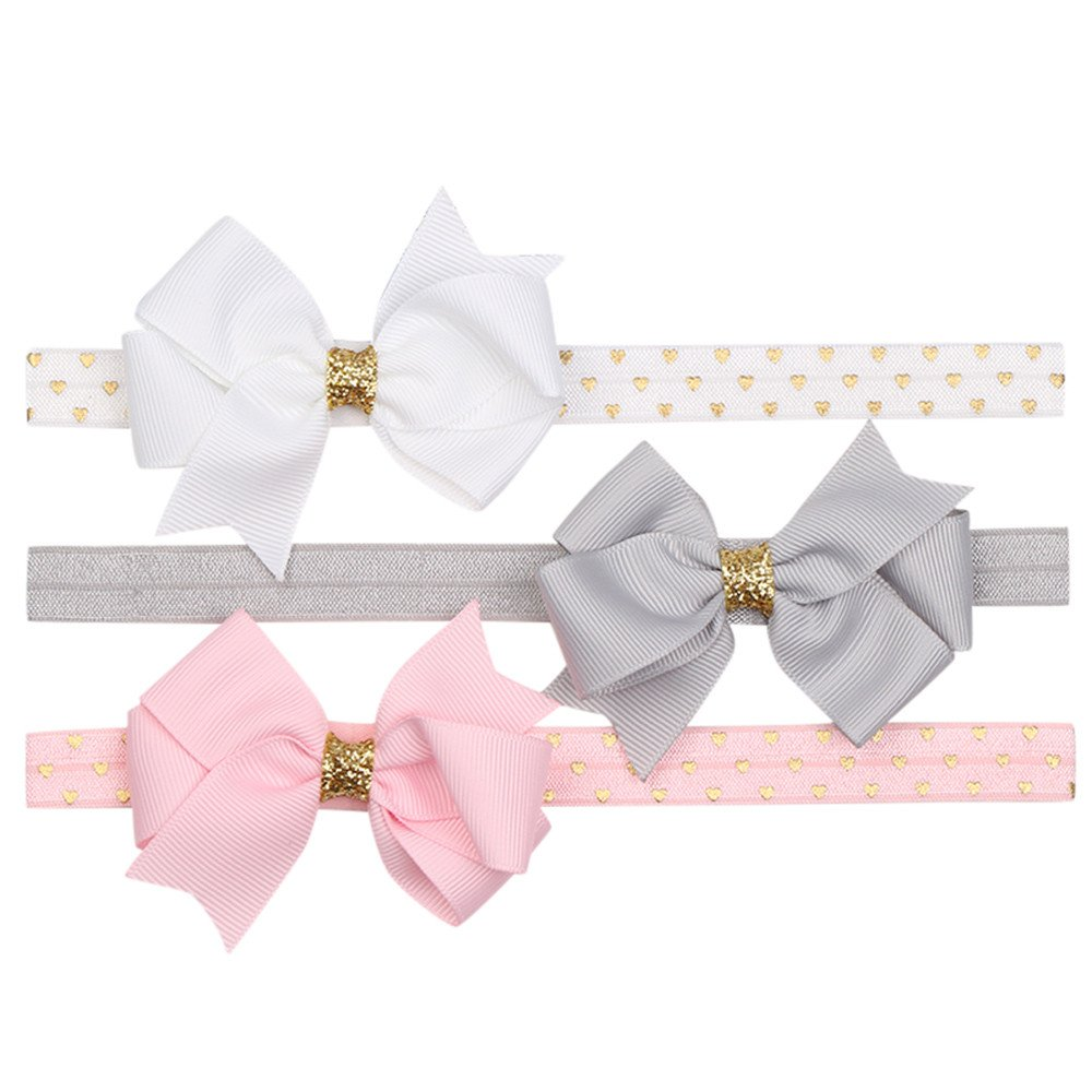 0-3 Years Old, Baby Headband, 3Pcs Kids Floral Headband Girls Baby Elastic Bowknot Accessories Hairband Set (D) COOKDATE-headband
