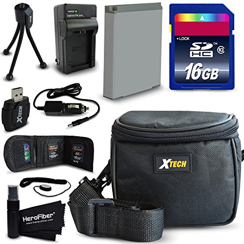 Ideal Accessory Kit for Canon Powershot SX710 IS, SX530 HS, SX610 HS, SX710 HS, SX600 HS, SX700 HS, SX520 HS, SX510 HS, SX500 IS, SX280 HS, SX260 HS, SX170 IS, SD1300 IS, SD1200 IS, SD980, SD770, SD1300, D30, D20, D10, IXUS 85 IS, IXUS 95 IS, IXUS 200 IS Digital Cameras Includes 16GB High Speed Memory Card + 1 High Capacity NB-6L NB6LH Lithium-ion Battery with Quick AC/DC Charger + Water Resistant Padded Case + Universal Card Reader + Mini Table Tripod + MORE