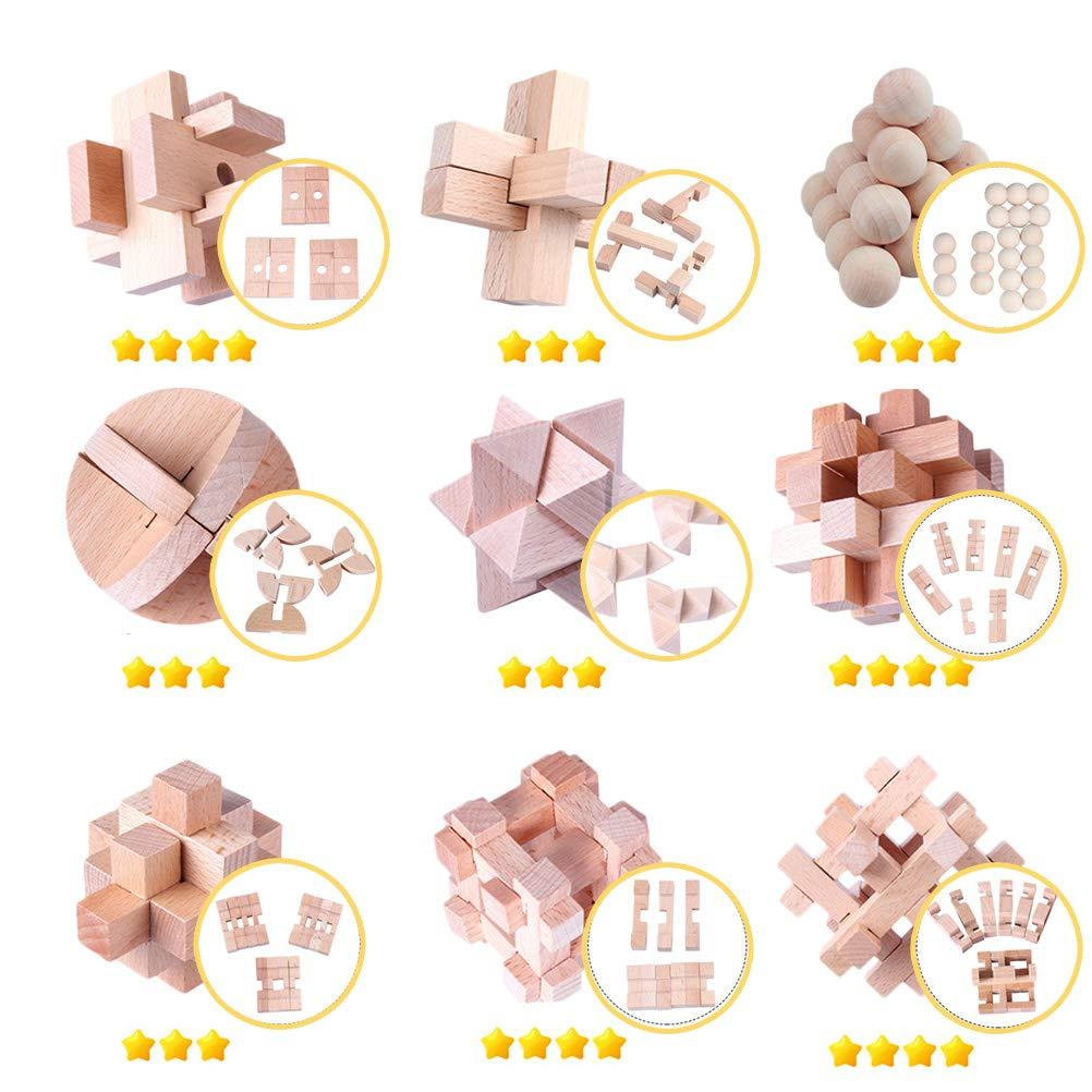 9 Pezzi per Bambini e Adulti Leikance Puzzle 3D in Legno per Test IQ Toy Kong-Ming
