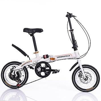 16 pulgadas Bicicleta plegable de bucle Luz portátil plegable bicicleta amortiguador 6 velocidades para niños casual