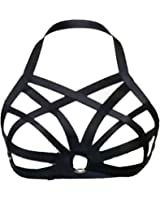 Sexy Lady Women Harness Bra Elastic Cage Bra Hollow Out Black Strappy Bra
