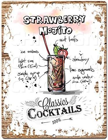 Amazon Com Classics Cocktails Strawberry Mojito Chic Sign Tropical Rustic Vintage Retro Kitchen Bar Pub Wall Decor 9 X12 Metal Plate Sign Home Store Decor Plaques Home Kitchen