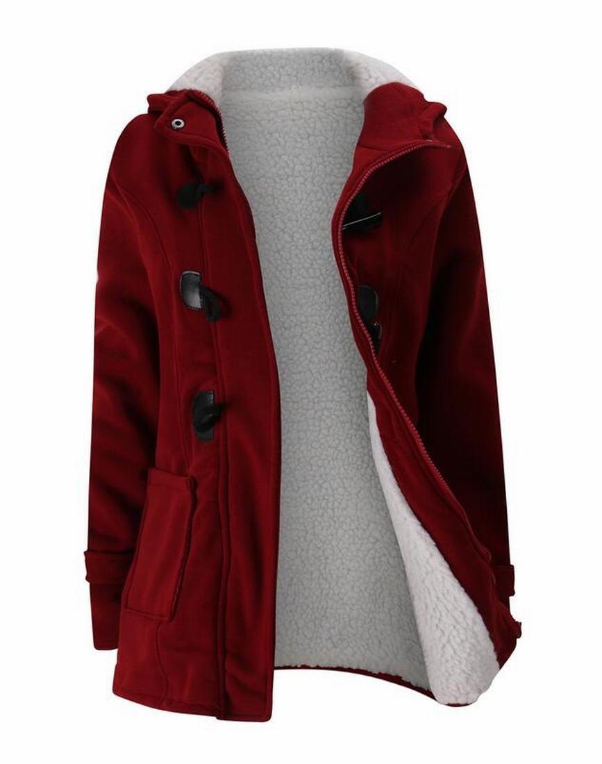 Zago Womens Horn Button Sherpa Lined Wool Blend Pea Coat Jacket Outwear Wine Red 2XL