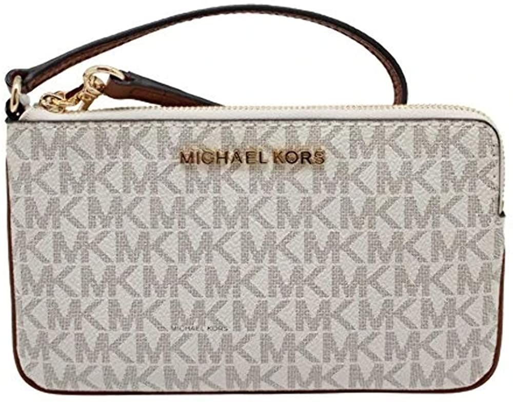 Michael Kors Jet Set Travel Large Top Zip Signature PVC Wristlet Clutch Vanilla