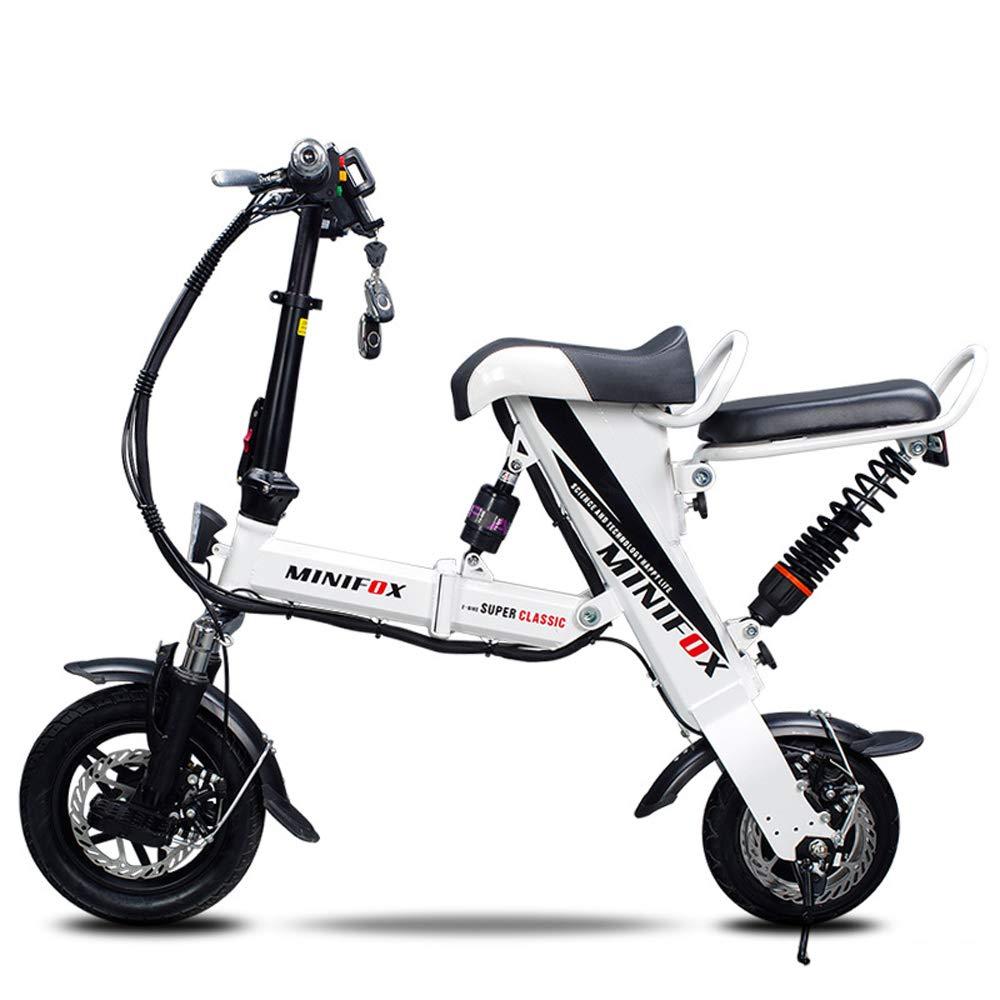 Xiaomu Bicicleta eléctrica Plegable Ligera y de Aluminio, Ruedas de 12 Pulgadas y Asiento Trasero, Motor Central de 250 vatios, Carga de 120 kg, para Adultos,White,30kmmax