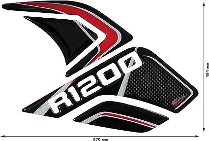 Bike Label 800283 Seitentank Pad Carbon Stripes Red Kompatibel Für Bmw R 1200 Gs Auto