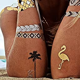 Flash Tattoos Goldfish Kiss H20 Authentic Metallic Temporary Tattoos 4 Sheet Pack (Black/gold/silver) - Includes Over 40 Assorted Premium Tropical Waterproof Tattoos