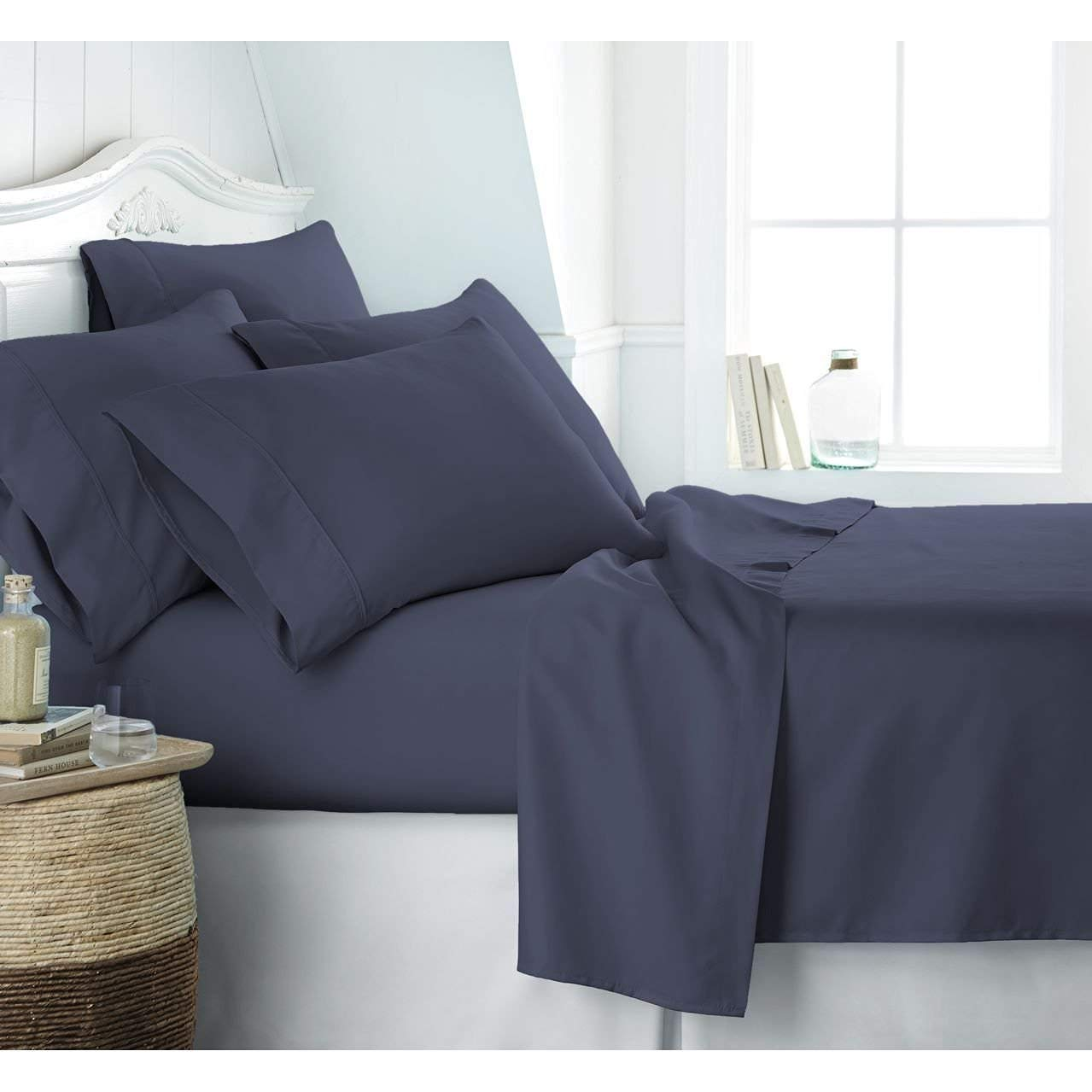 Cometa 6 PC Bedding Sheet Set - 1Flat Sheet, 1Fitted Sheet & 4Pillowcase - 400 Thread Count - 12 Inch Deep Pocket - 100% Pure Cotton Breathable & Wrinkle Free - Twin-XL, Navy Blue Solid