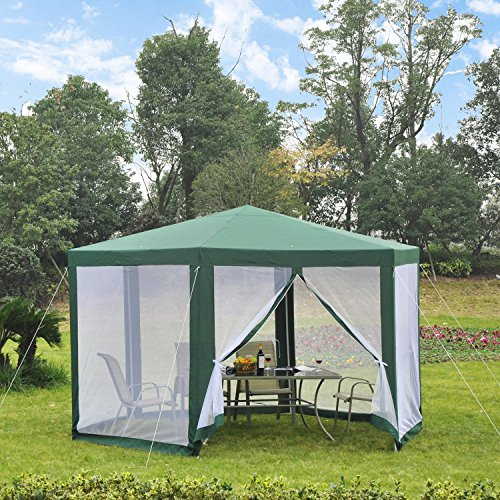 Outsunny Outdoor Cathedral Style Roof Party Gazebo with Mesh Walls- - Green Gazebo Party Garden