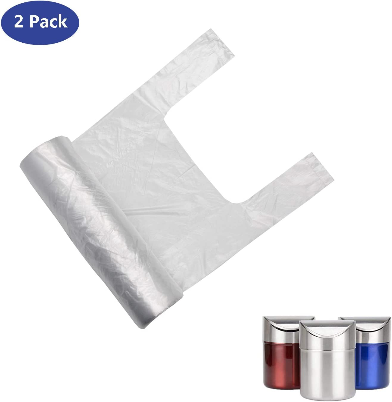 2 Pack Trash Bags for Countertop Mini Trash Can, 1.5 Liter Trash Bag for Small Tiny Trash Bin Can(Clear, 200 Counts)