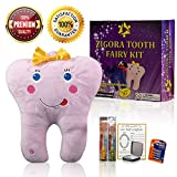 Zigora LED Tooth Fairy Pillow Kit for Girls. 5 Piece Bundle Memorable Gift Set, Includes 1 LED Pillow, 2 FDA Approved Toothbrushes, 1 Keepsake Box, 1 Lost Tooth Certificate Pad & 4 AA Batteries.