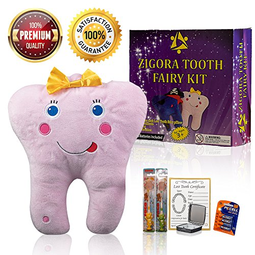 Zigora Tooth Fairy Pillow LED Kit - 5 Piece Memorable Bundle Gift Set for Girls, Includes 1 LED Pillow, 2 FDA Approved Toothbrushes, 1 Keepsake Box, 1 Lost Tooth Certificate - Hanger Set Four Pocket