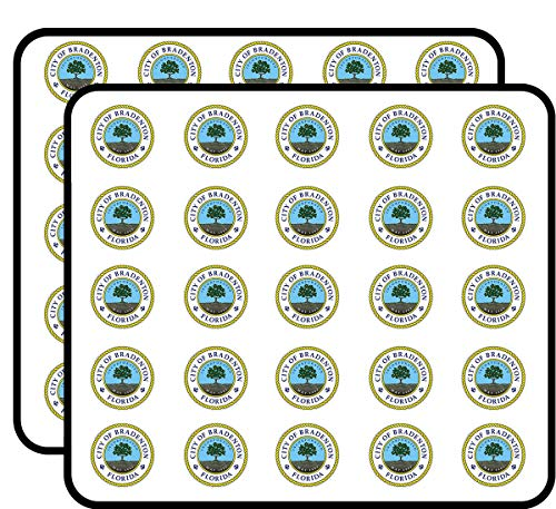 Round Bradenton Florida Seal (fl Gulf City) Sticker for Scrapbooking, Calendars, Arts, Kids DIY Crafts, Album, Bullet Journals ()
