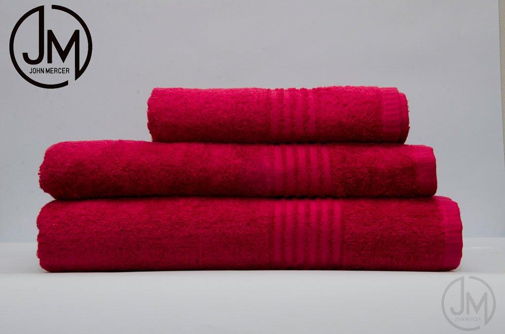 JOHN MERCER Classic, 100% Cotton, 500GSM, 6 Piece Towel Bale (Set), 2 Face Towels, 2 Hand Towels, 2 Bath Towels (Fuchsia)