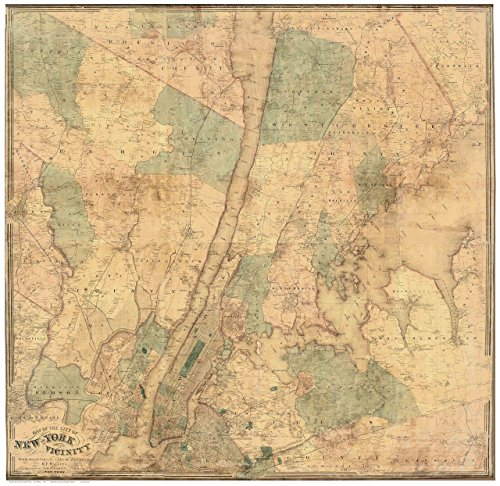New York City Vicinity 1863 - County Wall Map with Homeowner Names - Genealogy - Old Map - Ny County Yonkers
