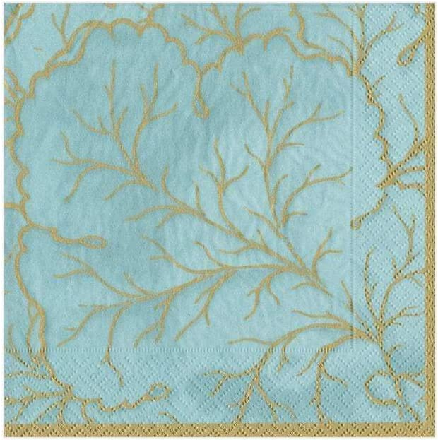 Caspari Aqua, Gilded Majolica Paper Cocktail Napkins, 20 Per Package
