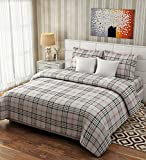 Fresh From Loom Bedsheet for Double Bed 100% Cotton Check Design Beige Color Double Bedsheet - 90x100 Inch