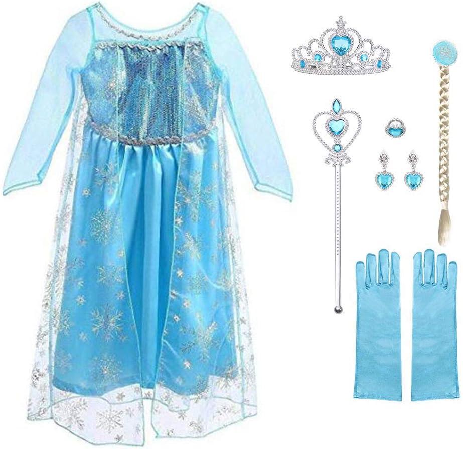 URAQT Vestido de Princesa Elsa, Reina Frozen Disfraz Elsa Vestido Infantil Niñas Costume Azul Cosplay de Disney Disfraz de Halloween, Cumpleaños, Carnaval y la Fiesta (110) Azul