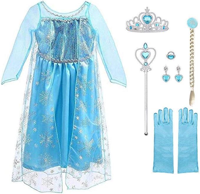 URAQT Reine des Neiges Elsa Costume et Accessoires Gants Couronne Baguette Tress