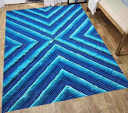 8-Feet-by-10-Feet Pile Rug Fluffy Fuzzy Modern Home Store 3D Kitchen Outdoor Indoor Bedroom Living Room Throw Carpet Floor Shag Rug Light Blue Dark Blue Sky Blue ( Exotic TD 555 Blue )